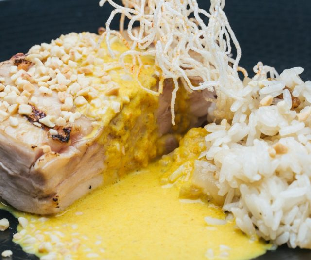 Spicy chiken curry terrine with jasmine rice