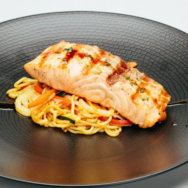 Josper-baked salmon with yakisoba noodles