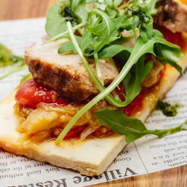 Roasted escalivada (aubergine and bell peppers) on bread crust with tuna confit